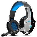 Wired Auriculares PS4, PHOINIKAS Gaming Kopfhörer für Xbox One, PC, Versión Mejorada Auriculares inalámbricos con Sonido Envolvente de Graves 7.1, Noise Cancelling-Mik, LED Licht - Blue