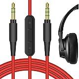 Geekria Cable de Audio con micrófono para Auriculares Anker Soundcore Life Q10, Life Q20, Life 2 Active, Vortex, COWIN E7, E8, Cable estéreo de Repuesto de 3,5 mm con micrófono y Control de Volumen